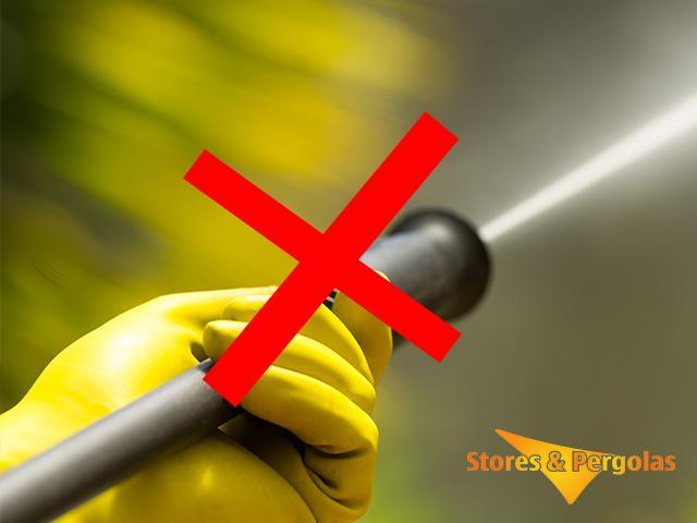 Ne pas nettoyer une toile de store au nettoyeur à haute pression type Kaersher®